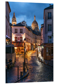 PVC-tavla  Street in Montmartre with Basilica of Sacre Coeur, Paris, France - Jan Christopher Becke