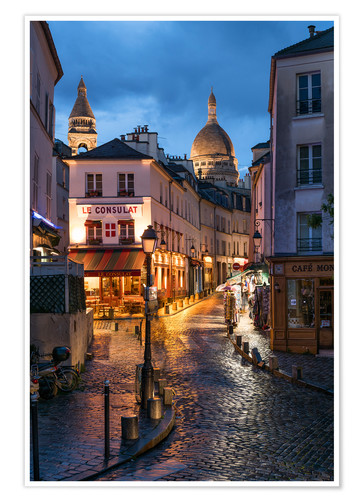 Premiumposter Street in Montmartre with Basilica of Sacre Coeur, Paris, France