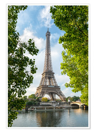 Premiumposter Eiffel Tower on the Seine River, Paris, France