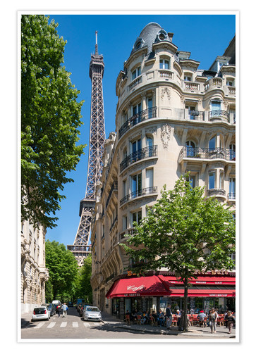 Premiumposter Eiffel tower with street cafe in Paris, France