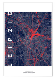 Premiumposter  Leipzig Map Midnight city - campus graphics
