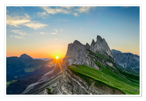 Premiumposter Sunrise on Seceda with Geisler group
