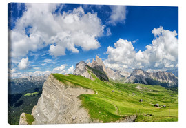 Canvastavla  Alps panorama on Seceda with Mount Geisler - Dieter Meyrl