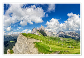 Premiumposter  Alps panorama on Seceda with Mount Geisler - Dieter Meyrl