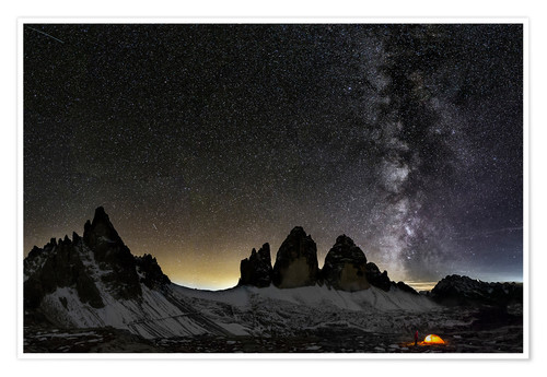 Premiumposter Lonely Tent under Milky way over Tre cime - Dolomites