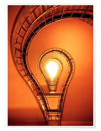 Premiumposter Light bulb in staircase