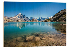 Trätavla  Mont Blanc is reflected in Lacs des Chéserys, Chamonix, France - Roberto Sysa Moiola