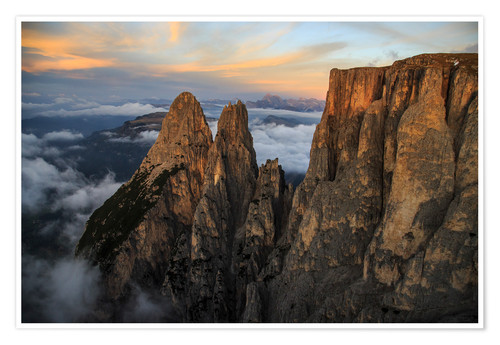 Premiumposter Aerial view of Punta Santner, Sciliar, South Tyrol, Italy