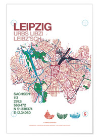 Premiumposter Leipzig map city motive