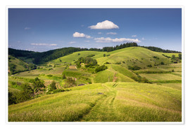 Premiumposter Hills and clouds in summer, Kaiserstuhl, Germany