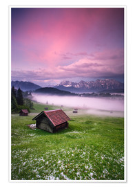 Premiumposter Sunset in the Alps, Germany, Karwendel