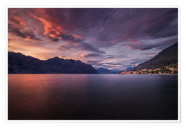 Premiumposter Sunset at Lake Garda with view on Malcesine