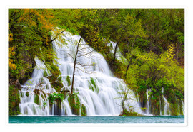 Premiumposter Spring at the waterfalls of Plitvice
