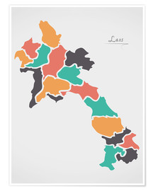Poster Laos map modern abstract with round shapes
