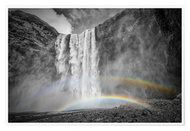 Premiumposter  ICELAND Skogafoss with a double rainbow - Melanie Viola