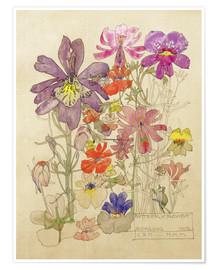 Poster  Butterfly Flower, Bowling - Charles Rennie Mackintosh