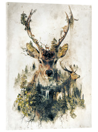 Akrylglastavla  Deer nature, surrealism - Barrett Biggers