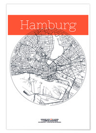 Poster Hamburg map circle