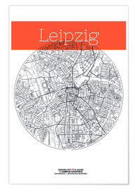 Premiumposter  Leipzig map circle - campus graphics