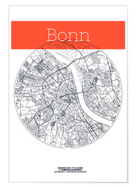 Premiumposter Bonn map circle