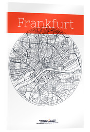 Akrylglastavla  Frankfurt map circle - campus graphics