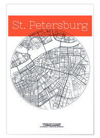 Premiumposter  St. Petersburg map circle - campus graphics