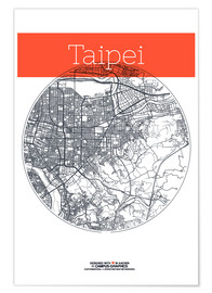 Premiumposter Taipei map circle