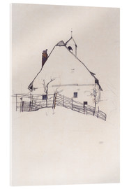 Akrylglastavla  House with Bell Tower - Egon Schiele