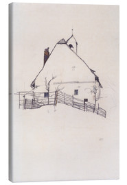 Canvastavla  House with Bell Tower - Egon Schiele