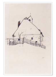 Premiumposter  House with Bell Tower - Egon Schiele
