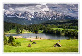 Premiumposter Karwendel mountains with lake in the Alps