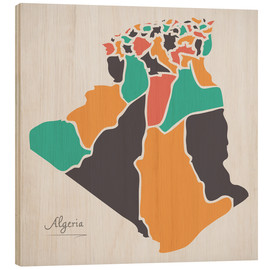 Trätavla  Algeria map modern abstract with round shapes - Ingo Menhard