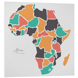 PVC-tavla  Africa map modern abstract with round shapes - Ingo Menhard