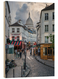 Trätavla  Streets of Montmartre and Sacre Coeur - Jan Christopher Becke