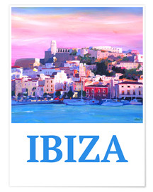 Premiumposter  Retro Poster Ibiza Old Town and Harbour Pearl Of the Mediterranean - M. Bleichner