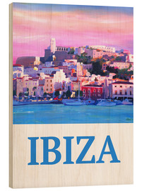 Trätavla  Retro Poster Ibiza Old Town and Harbour Pearl Of the Mediterranean - M. Bleichner