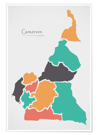 Premiumposter Cameroon map modern abstract with round shapes