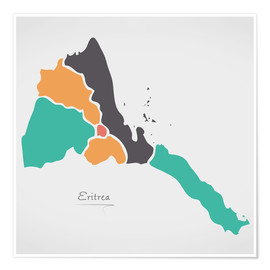 Poster Eritrea map modern abstract with round shapes