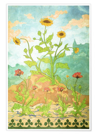 Premiumposter Sunflowers and Poppies