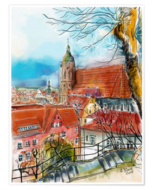 Premiumposter Pirna, View to the Church of St. Mary