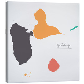 Canvastavla  Guadeloupe map modern abstract with round shapes - Ingo Menhard