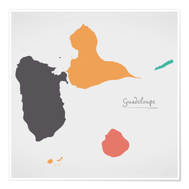 Premiumposter  Guadeloupe map modern abstract with round shapes - Ingo Menhard