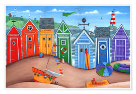 Premiumposter  Beach hut rainbow scene - Peter Adderley