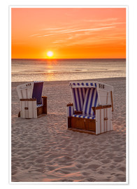 Poster Sunset at the Baltic Sea beach