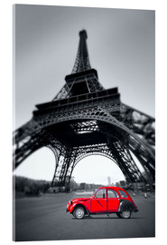 Akrylglastavla  Vintage red car stands on the Champ de Mars