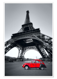 Premiumposter  Vintage red car stands on the Champ de Mars