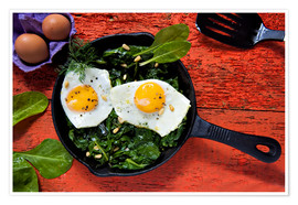 Poster  Breakfast pan eggs on spinach - K&L Food Style