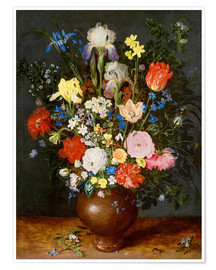 Premiumposter Bouquet of flowers in clay vase