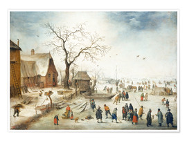 Premiumposter Village in winter with farmers on the ice