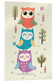 Akrylglastavla  Three owls - Kidz Collection